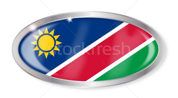 Намибия флаг овальный кнопки серебро изолированный Сток-фото © Bigalbaloo