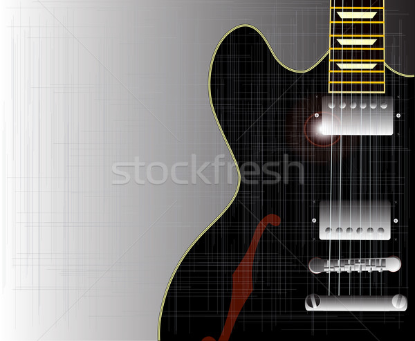 Vieux grunge blues guitare noir acoustique Photo stock © Bigalbaloo