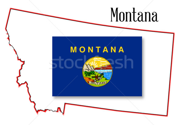 Montana State Map and Flag Stock photo © Bigalbaloo