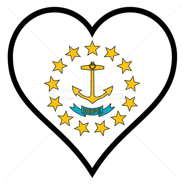 Sevmek Rhode Island bayrak kalp tüm beyaz Stok fotoğraf © Bigalbaloo