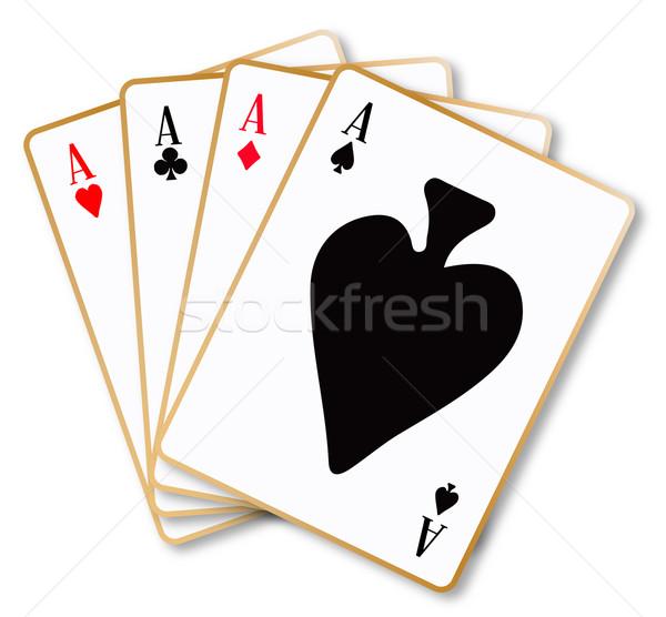 Quatre cartes à jouer blanche art rouge Photo stock © Bigalbaloo