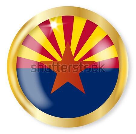 アリゾナ州 フラグ ボタン 金 金属 ストックフォト © Bigalbaloo