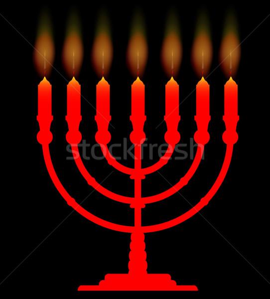 Siete velas negro fuego fondo lámpara Foto stock © Bigalbaloo