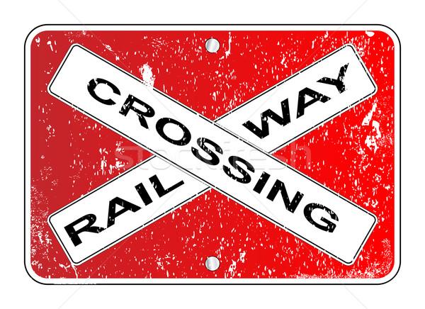 Railway Crossing Sign Stock photo © Bigalbaloo