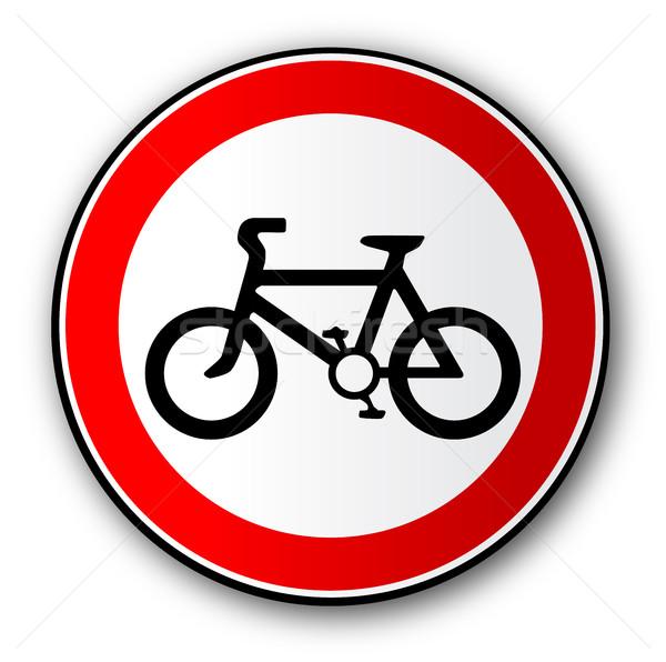 Ciclista strada segnale di traffico rosso segno Foto d'archivio © Bigalbaloo