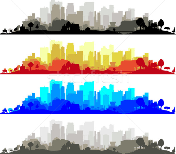 Cityscape coleção moderno azul edifícios silhueta Foto stock © Bigalbaloo