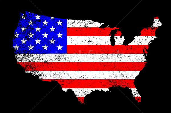 Сток-фото: США · флаг · силуэта · карта · Соединенные · Штаты