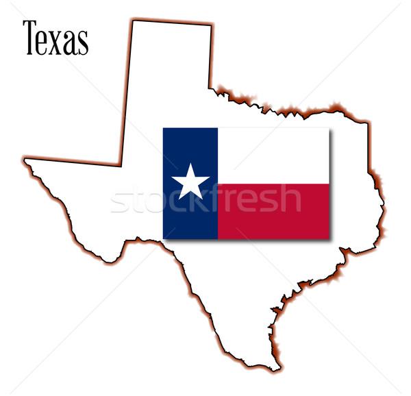 テキサス州 地図 フラグ 孤立した 芸術 ストックフォト © Bigalbaloo