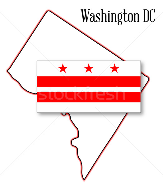 Stock photo: Washington DC Map and Flag