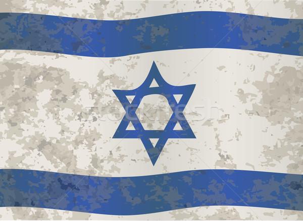 Israel Flagge Grunge blau weiß Sterne Stock foto © Bigalbaloo