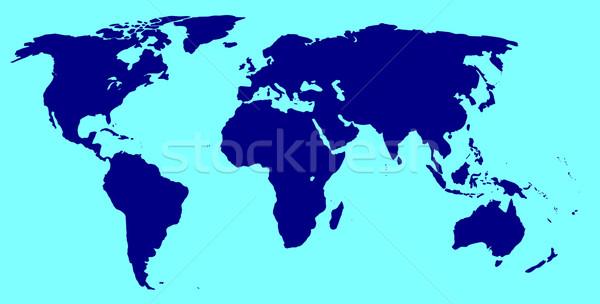 World Silhouette In Blue Stock photo © Bigalbaloo