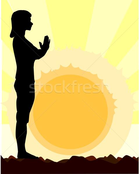 Yoga Salutation Stock photo © Bigalbaloo