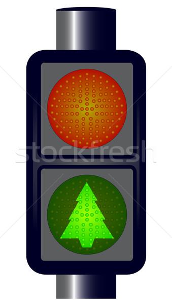 Yeşil Noel trafik ışıkları kırmızı noel ağacı yalıtılmış Stok fotoğraf © Bigalbaloo