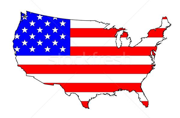 USA Flag Map Stock photo © Bigalbaloo