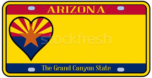 Arizona rendszámtábla színek zászló ikonok fehér Stock fotó © Bigalbaloo