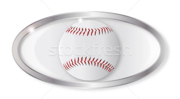 Baseball owalny przycisk srebrny odizolowany biały Zdjęcia stock © Bigalbaloo