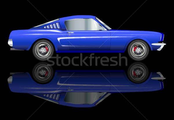 Snel auto amerikaanse groot muscle car zwarte Stockfoto © Bigalbaloo