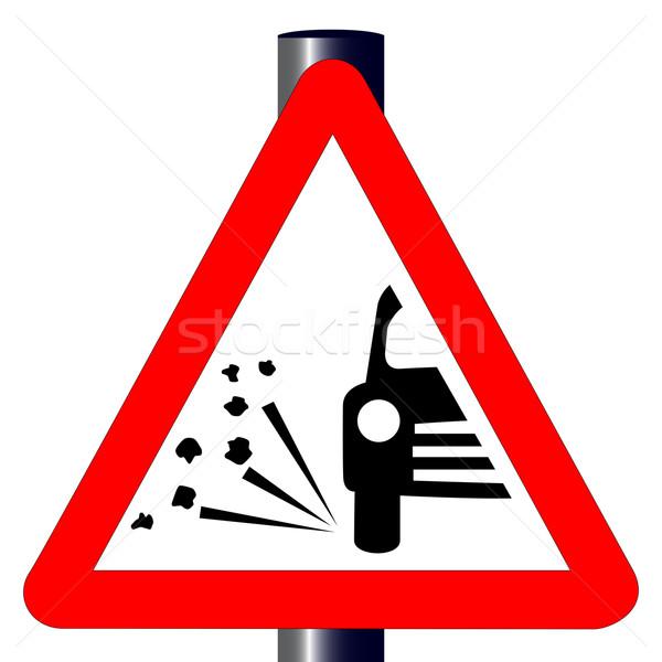 石 交通標識 伝統的な 警告 三角形 孤立した ストックフォト © Bigalbaloo