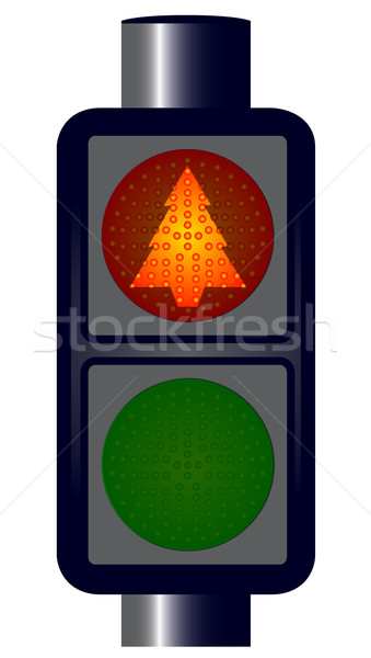 Kırmızı noel ağacı trafik ışıkları yalıtılmış sanat imzalamak Stok fotoğraf © Bigalbaloo