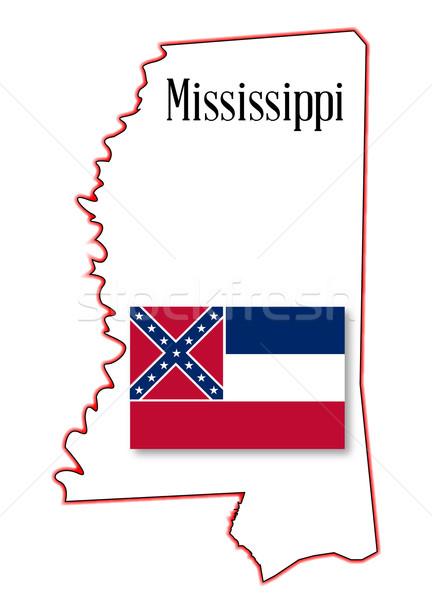 Mississipi harita bayrak beyaz sanat Stok fotoğraf © Bigalbaloo