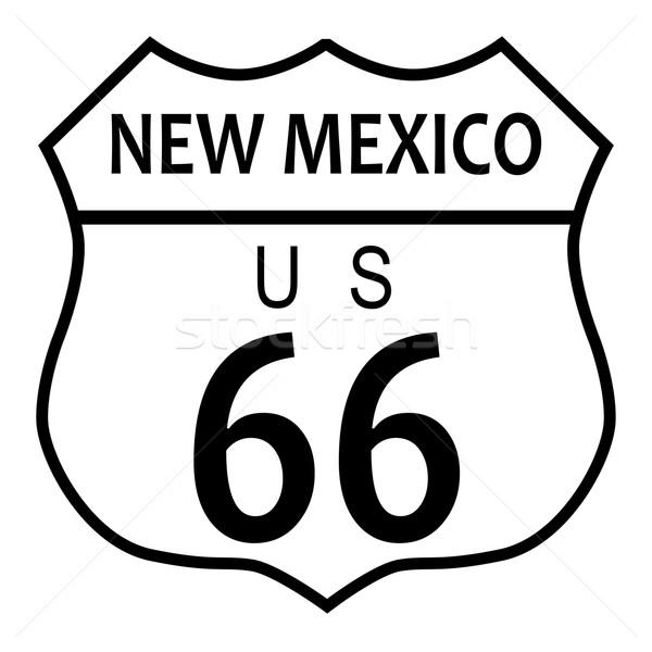 Route 66 New Mexico verkeersbord witte naam weg Stockfoto © Bigalbaloo