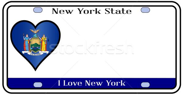 New York plaka renkler bayrak simgeler beyaz Stok fotoğraf © Bigalbaloo