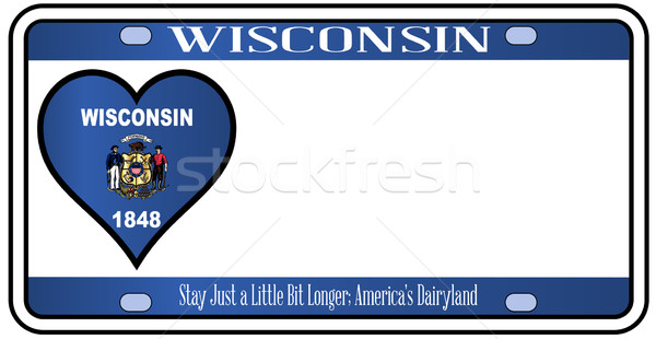 Wisconsin plaque d'immatriculation couleurs pavillon icônes blanche Photo stock © Bigalbaloo