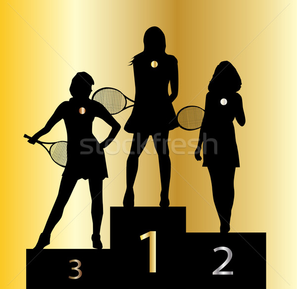 Ladies Tennis Champions Stock photo © Bigalbaloo