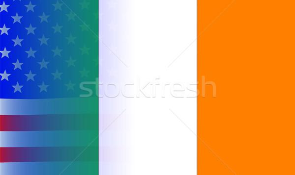 Irlandzki banderą gwiazdki amerykańską flagę Irlandia Zdjęcia stock © Bigalbaloo