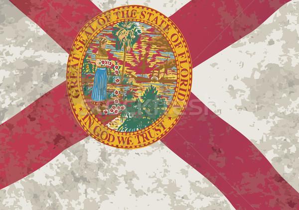 Florida zászló grunge USA hatás kereszt Stock fotó © Bigalbaloo