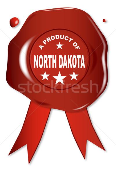 Product North Dakota wax zegel tekst Rood Stockfoto © Bigalbaloo