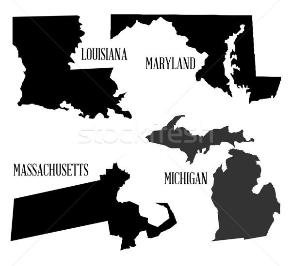 Sziluett gyűjtemény térkép rajz grafikus Louisiana Stock fotó © Bigalbaloo