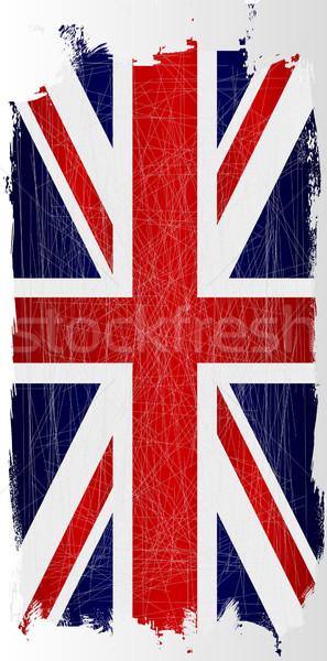 Opknoping grunge union jack vlag groot-brittannië witte Stockfoto © Bigalbaloo