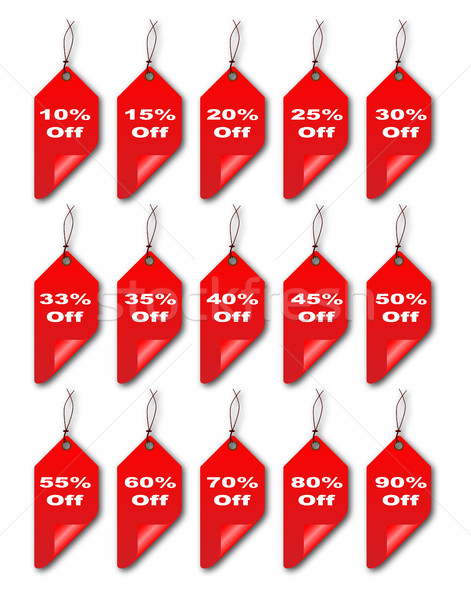 Red Curled Discount Tags Stock photo © Bigalbaloo