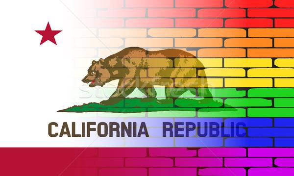 Homo regenboog muur Californië vlag goed Stockfoto © Bigalbaloo