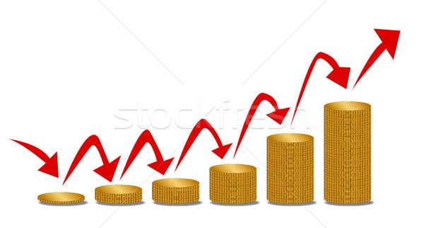 Emelkedő pénz lépcső érmék méret nyilak Stock fotó © Bigalbaloo
