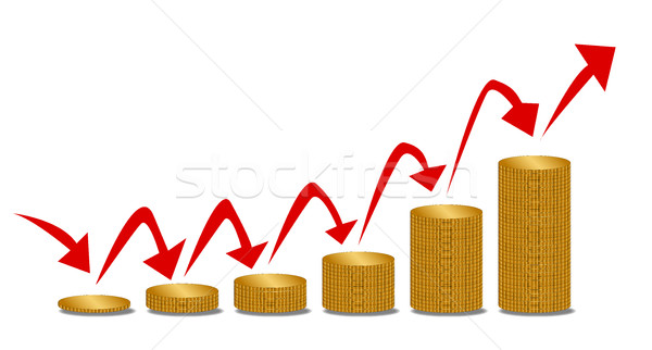 Dinero pasos monedas tamaño flechas Foto stock © Bigalbaloo