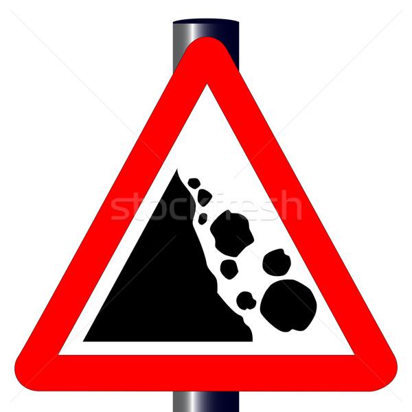 Danger Falling Rocks Traffic Sign Stock photo © Bigalbaloo