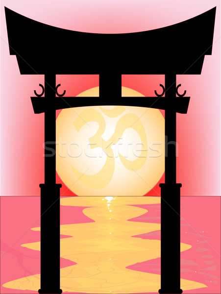 Japanese Tori Gate Sunset Stock photo © Bigalbaloo