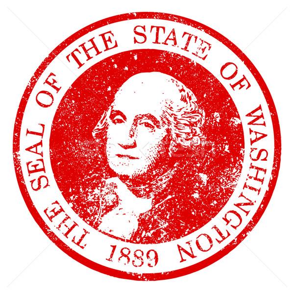 Waszyngton pieczęć pieczęć gumy biały czerwony Zdjęcia stock © Bigalbaloo