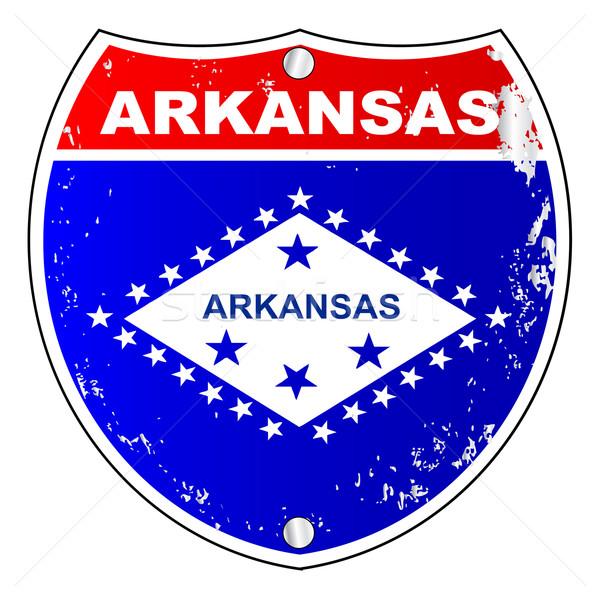 Arkansas eyaletler arası imzalamak bayrak çapraz beyaz Stok fotoğraf © Bigalbaloo
