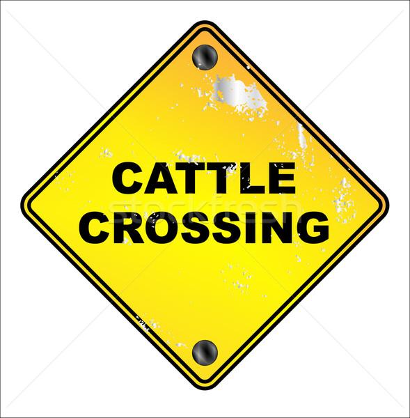Yellow Cattle Crossing Sign Stock photo © Bigalbaloo