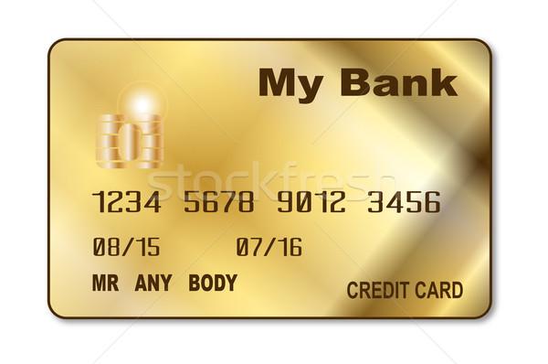 Arany hitelkártya fehér kéz kártyák rajz Stock fotó © Bigalbaloo
