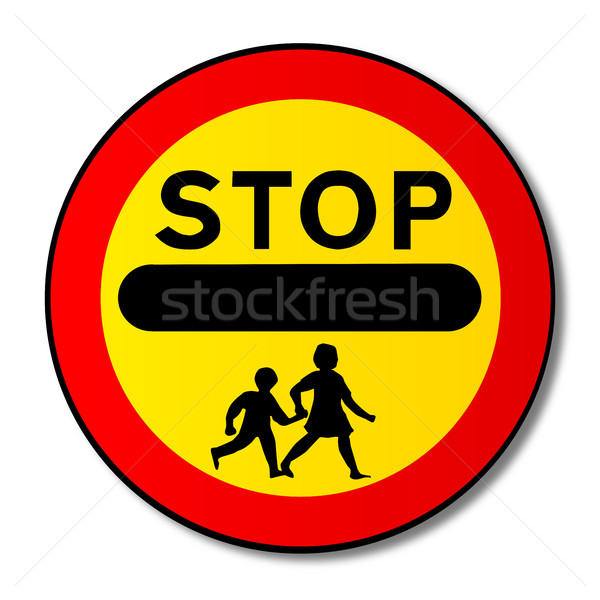 Stop Children Traffic Sign Stock photo © Bigalbaloo