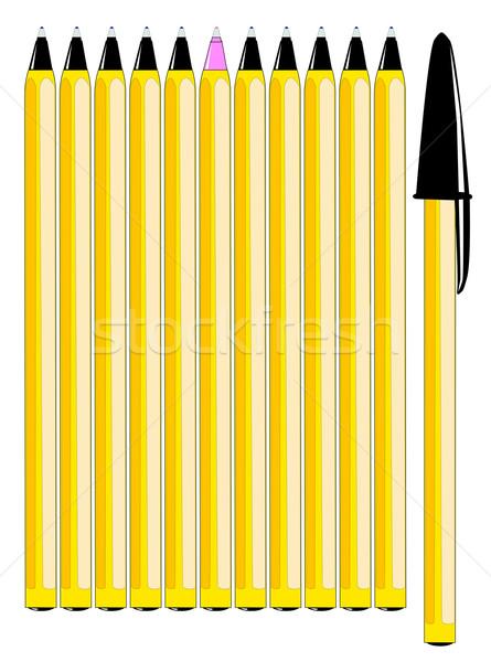 Oneven een uit Geel pennen Stockfoto © Bigalbaloo