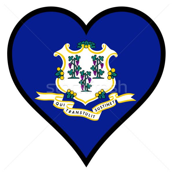 Amor Connecticut coração branco bandeira Foto stock © Bigalbaloo