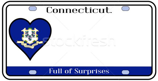 Connecticut placa cores bandeira ícones branco Foto stock © Bigalbaloo