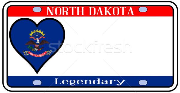 Kuzey Dakota plaka renkler bayrak simgeler beyaz Stok fotoğraf © Bigalbaloo