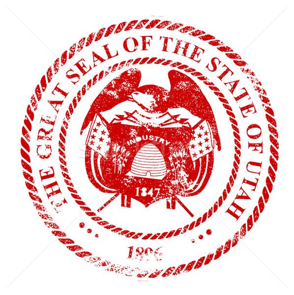 Utah sceau blanche rouge tampon Photo stock © Bigalbaloo