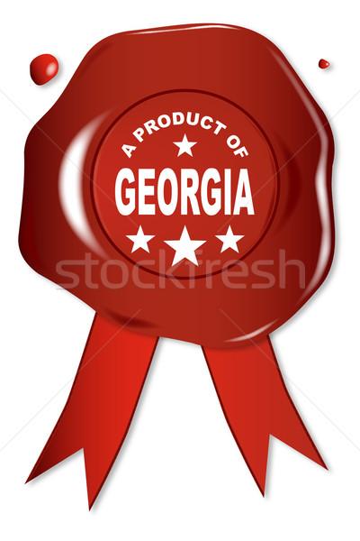 Produit Géorgie cire sceau texte rouge Photo stock © Bigalbaloo